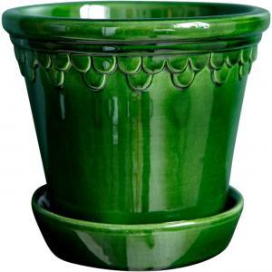 Bergs Potter Köpenhamn Kruka och fat - Grön 16 cm - Hus-modern.se